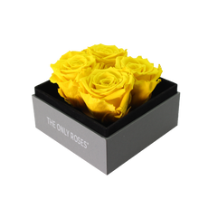 Load image into Gallery viewer, Yellow Preserved Roses | Small Square Classic Grey Box