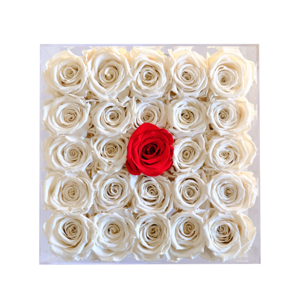 Acrylic Square Clear Large Center Rose
