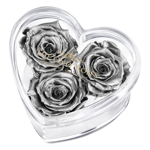 Silver Preserved Rose | Acrylic Rose Heart Box