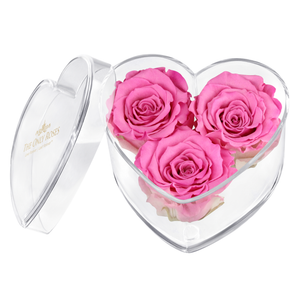 Pink Preserved Rose | Acrylic Rose Heart Box