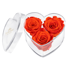 Load image into Gallery viewer, Orange Preserved Rose | Acrylic Rose Heart Box