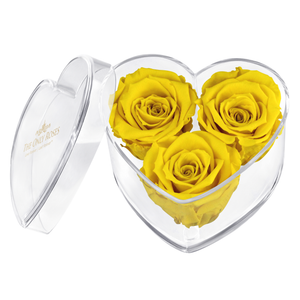 Yellow Preserved Rose | Acrylic Rose Heart Box