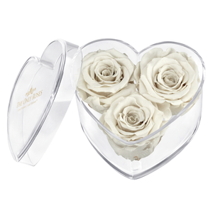 White Preserved Rose | Acrylic Rose Heart Box
