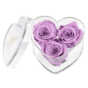 Light Purple Preserved Rose | Acrylic Rose Heart Box