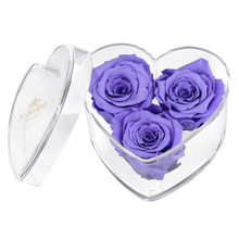 Load image into Gallery viewer, Purple Preserved Rose | Acrylic Rose Heart Box