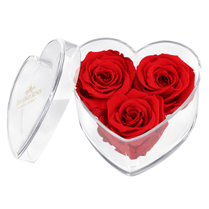Red Preserved Rose | Acrylic Rose Heart Box