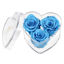 Load image into Gallery viewer, Blue Preserved Rose | Acrylic Rose Heart Box