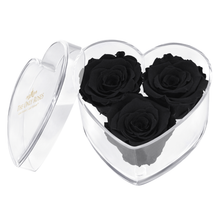 Load image into Gallery viewer, Black Preserved Rose | Acrylic Rose Heart Box
