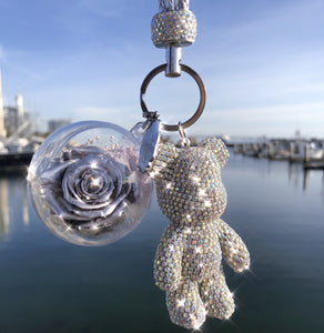 Silver Preserved Rose | Silver Crystal Rose Bear Keychain - The Only Roses