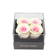Load image into Gallery viewer, Pink and White Preserved Roses | Small Square Classic Grey Box - The Only Roses