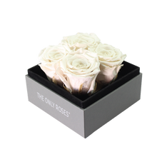 Load image into Gallery viewer, White Preserved Roses | Small Square Classic Grey Box