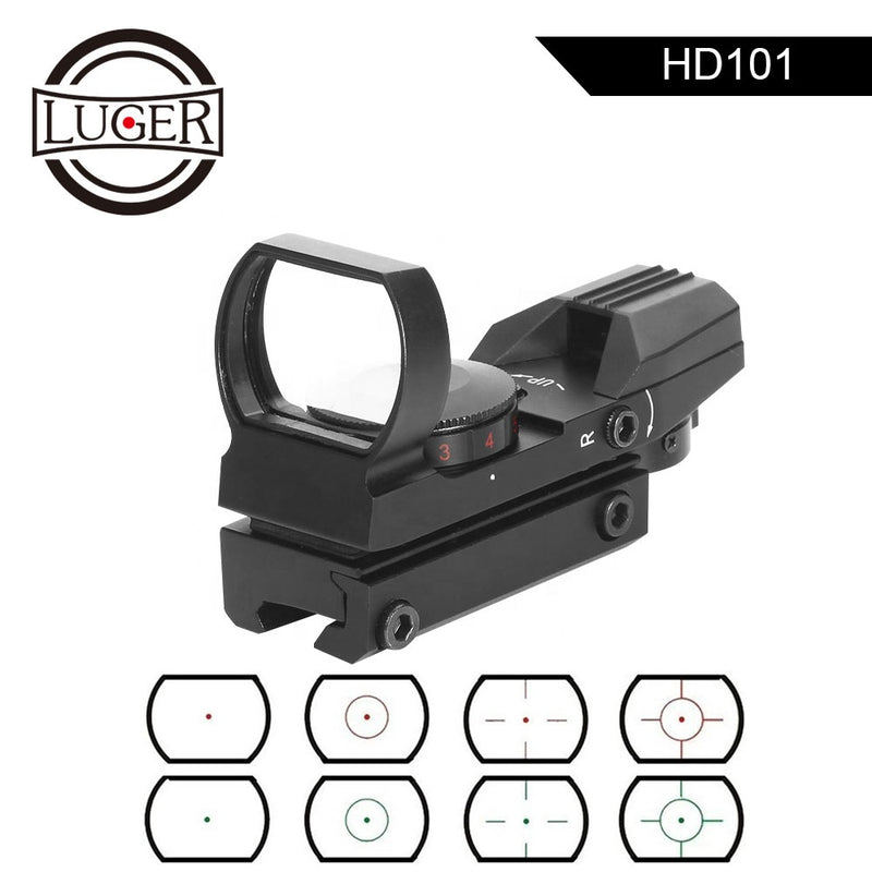 LUGER HD101 Gel Blaster Tactical Scope Reflex 4 Reticle Optics Holographic Red/Green light Sight