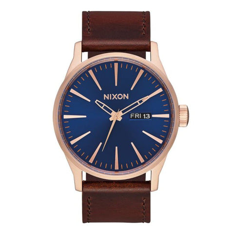 Nixon Sentry Leather Rose Gold/Navy/Brown
