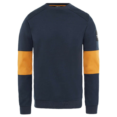 North Face Fine Crew Sweat Navy/Yellow