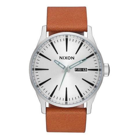 Nixon Sentry Leather Silver/Tan