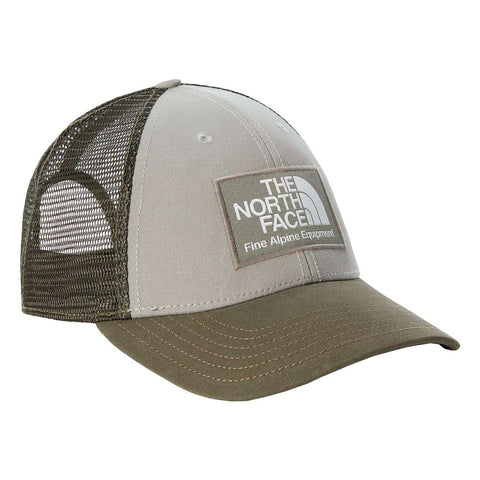The North Face Mudder Trucker Hat em Agave Green e New Taupe Green. Foto de frente a 3/4.