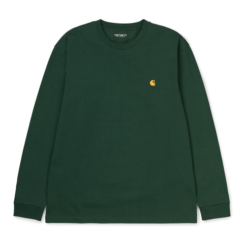 T-Shirt de manga comprida Carhartt WIP Chase Bottle Green Frente
