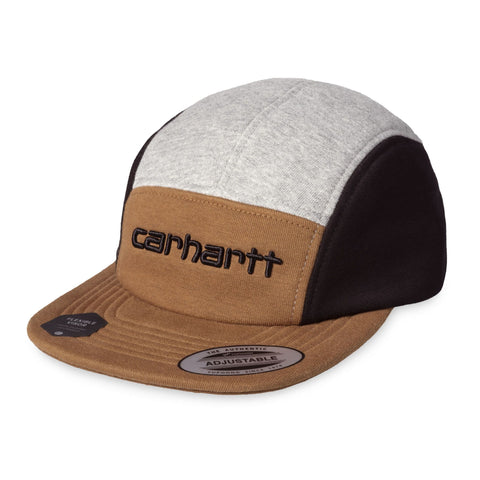 Boné 5 panel Carhartt WIP Carhartt Tricol em hamilton brown, grey heather e black. Foto de 3/4 de frente.