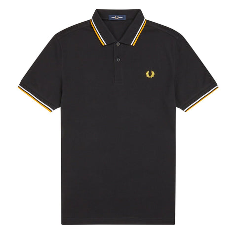 Fred Perry Slim Fit Twin Tipped Polo Black/White/Yellow