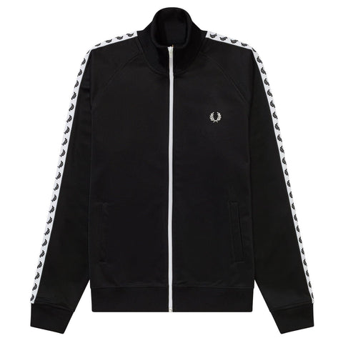 Fred Perry Taped Track Jacket Preto/Branco Frente