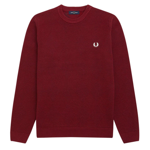 Fred Perry Tonal Argyle Crew Neck Jumper Bordeaux
