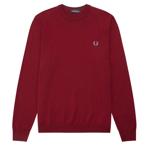Fred Perry Classic Merino Crew Neck Jumper Bordeaux
