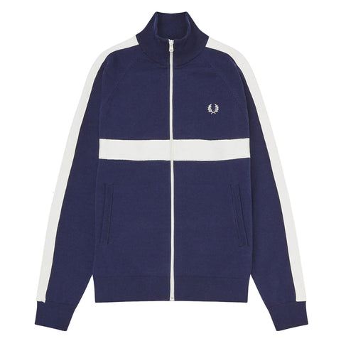 Fred Perry Taped Knitted Track Jacket Azul Marinho/Branco Frente