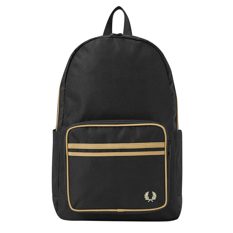 Fred Perry Twin Tipped Backpack Preto/Dourado Frente