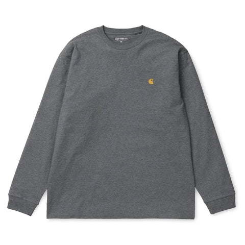 Carhartt Chase Longsleeve T-Shirt Dark Grey Heather/Gold