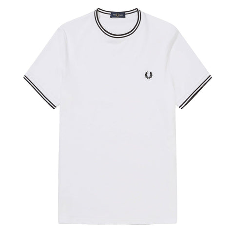 Fred Perry Twin Tipped T-Shirt White/Black Front