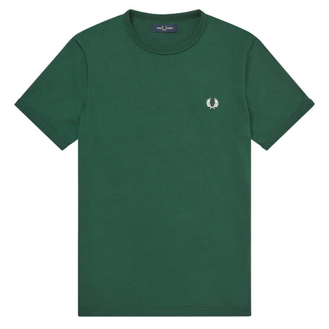 Fred Perry Ringer T- Shirt Verde Frente