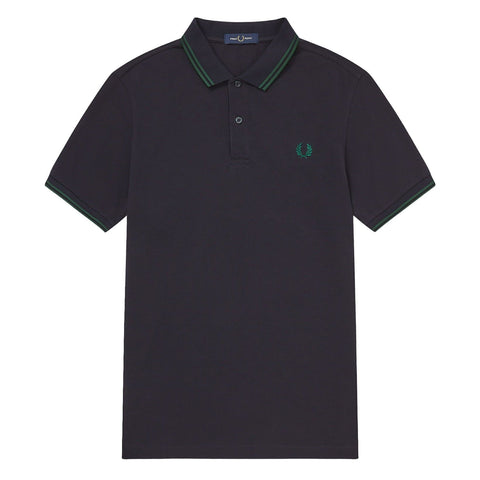 Fred Perry Slim Fit Twin Tipped Polo Azul Marinho/Verde Ivy Frente
