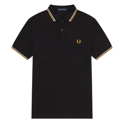 Fred Perry Slim Fit Twin Tipped Polo Preto/Branco/Dourado Frente