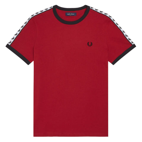 Fred Perry Taped Ringer T-Shirt Bordeaux Frente