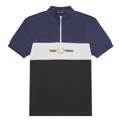 Fred Perry Embroidery Zip Neck Polo Shirt Azul/Branco/Preto Frente
