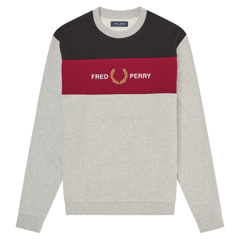 Fred Perry Embroidered Panel Sweatshirt Marl Grey