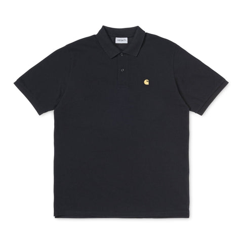 Carhartt WIP Chase Polo Black/Gold Front