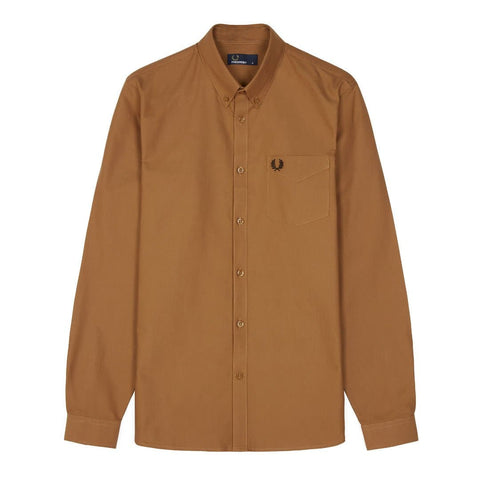 Fred Perry Button Down Shirt Dark Caramel