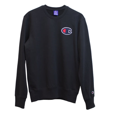 Champion Satin C Sweatshirt Preto Frente