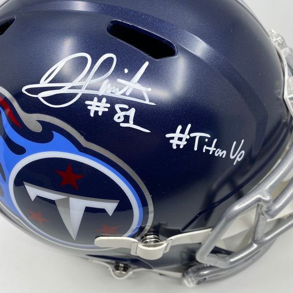 "Jonnu Smith Signed Tennessee Titans Full Size Replica Speed Helmet ""#Titan Up"""