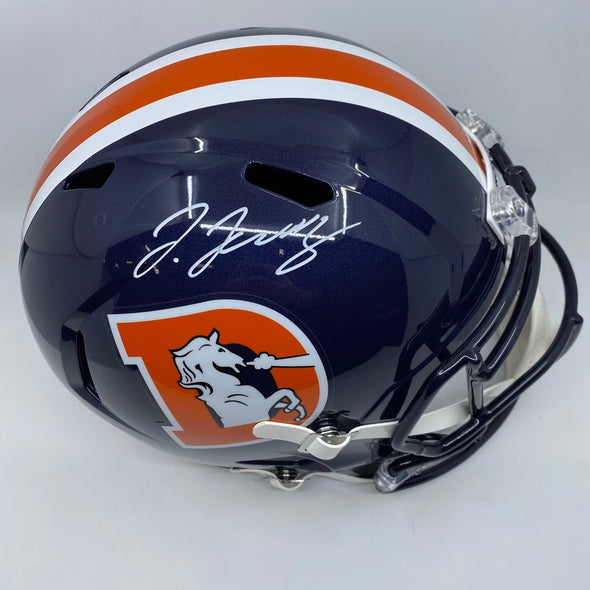 Jerry Jeudy Signed Denver Broncos Full Size Color Rush Speed Replica Helmet