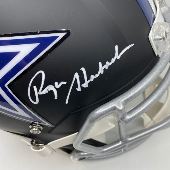 Roger Staubach Signed Dallas Cowboys Full Size Matte Black Replica Helmet