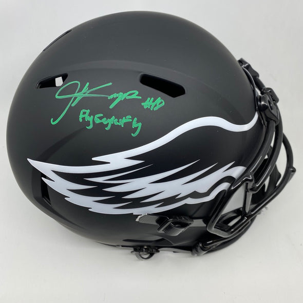 "Jalen Reagor Signed Philadelphia Eagles Full Size Eclipse Replica Helmet ""Fly Eagles Fly"""