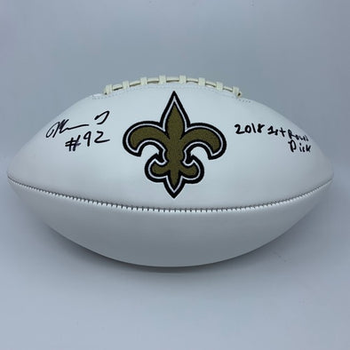 "Marcus Davenport Signed New Orleans Saints White Panel Football ""2018 First Round Pick"""
