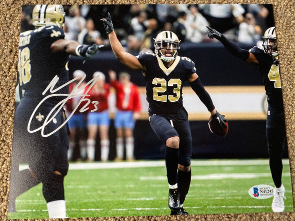 "Marshon Lattimore Signed New Orleans Saints ""Celebration"" 8x10 Photo"