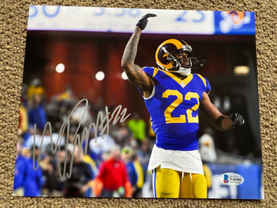 "Marcus Peters Signed Los Angeles Rams 8x10 ""Arms up"" Photo"