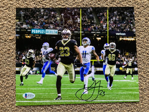 Marshon Lattimore Signed New Orleans Saints Interception Return 8x10 Photo