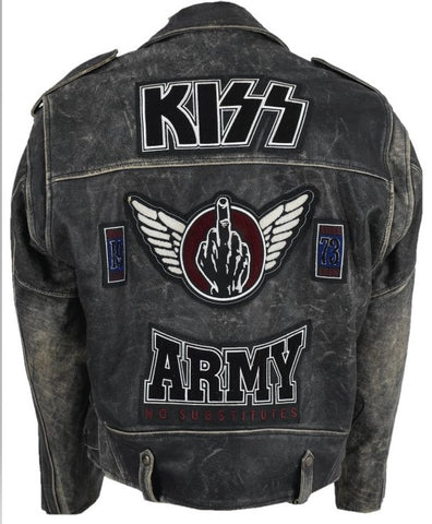 af7e70d2c [ 30% - 50% OFF ] KISS ARMY BIKER-STYLE MOTORCYCLE LEATHER JACKET- 100%  REAL LEATHER
