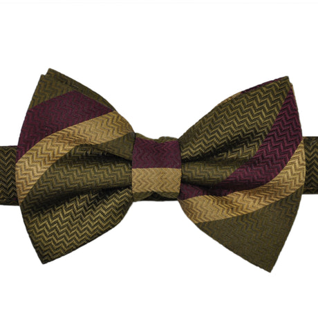 Bold stripes silk bow tie