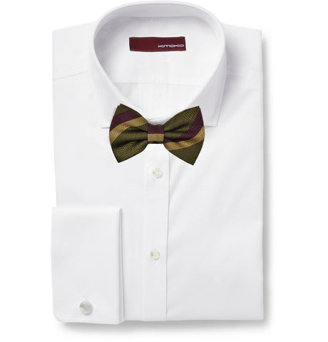 Amelle bold stripes silk bow tie